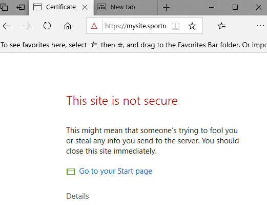 Certificate error warning